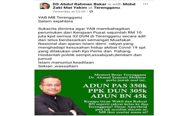 Peruntukan 'tidak adil' kerajaan Pas Terengganu undang rasa tak puas hati ahli Umno