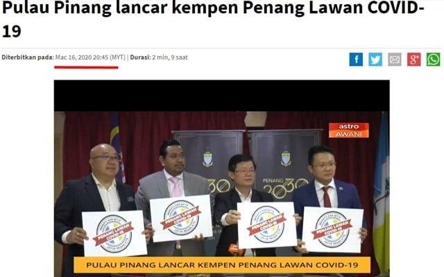 Pulau Pinang bakal jadi negeri pertama zon hijau covid-19