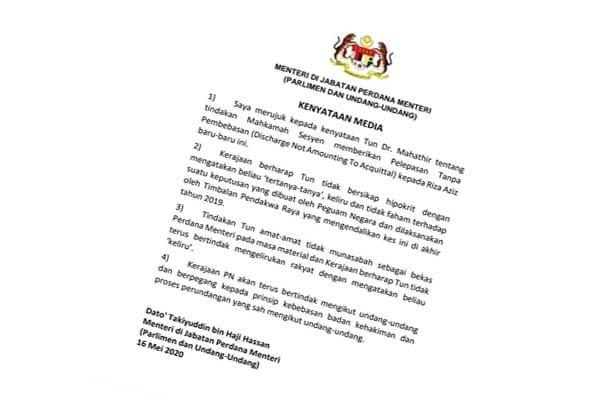 Laras bahasa kenyataan media Menteri Undang-undang memalukan