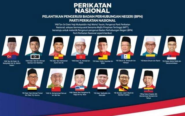 PN umum 14 Pengerusi Badan Perhubungan Negeri terdiri dari Pas dan Bersatu sahaja
